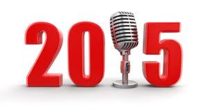 Microfono con 2015 (percorso di ritaglio incluso) Fotografia Stock