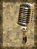 Microfono dell'annata dell'oro Fotografie Stock
