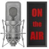 Microfono dello studio con sul segno dell'aria, per trasmettere per radio Fotografia Stock
