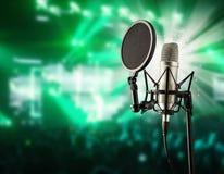 Microfono di canto sul concerto di musica Fotografie Stock