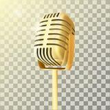 Microfono dorato d'annata dello studio royalty illustrazione gratis