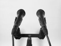 Microfono due installato per la conferenza stampa Fotografie Stock