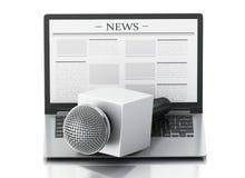 microfono e computer portatile di notizie 3d con l'articolo di notizie Fotografia Stock