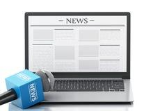 microfono e computer portatile di notizie 3d con l'articolo di notizie Fotografia Stock Libera da Diritti