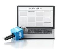 microfono e computer portatile di notizie 3d con l'articolo di notizie Immagine Stock Libera da Diritti