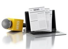 microfono e computer portatile di notizie 3d con l'articolo di notizie Immagini Stock