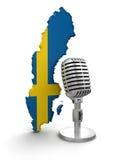 Microfono e la Svezia (percorso di ritaglio incluso) Immagini Stock Libere da Diritti