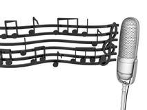 Microfono e note Fotografia Stock