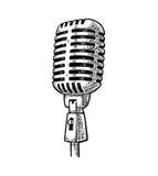 Microfono Illustrazione d'annata dell'incisione del nero di vettore Fotografie Stock Libere da Diritti