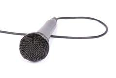 Microfono isolato su priorità bassa bianca Fotografie Stock Libere da Diritti