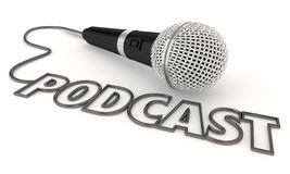 Microfono mobile 3d Illustratio del file audio di manifestazione di programma di podcast fotografie stock libere da diritti