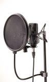 Microfono nella stazione di radiodiffusione Fotografie Stock Libere da Diritti