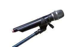 Microfono sul supporto su fondo bianco Immagine Stock Libera da Diritti