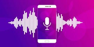 Microfono sullo schermo di uno smartphone illustrazione di stock