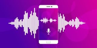 Microfono sullo schermo di uno smartphone illustrazione vettoriale