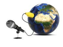Microfoon aan de Aarde wordt aangesloten die Royalty-vrije Stock Foto