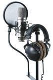 Microfoon en hoofdtelefoons Stock Foto's