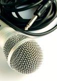 Microfoon en kabel Stock Fotografie