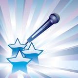Microfoon en sterren. Stock Foto
