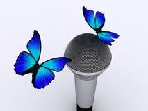 Microfoon en vlinder 2 vector illustratie