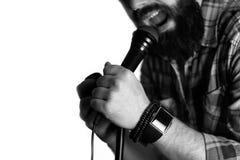 Microfoon geïsoleerde mensenhand Stock Foto