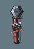 Microfoon met beslagen armbanden stock illustratie