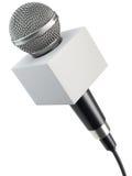 Microfoon met lege reclamedoos Royalty-vrije Stock Foto's