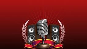 Microfoon met sprekers en lint royalty-vrije illustratie