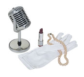 Microfoon met Witte Handschoenen, Parels en Lippenstift Stock Foto