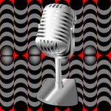 Microfoon op een retro patroon Stock Foto's