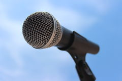 Microfoon op een tribune Stock Fotografie