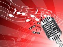 Microfoon op rood Stock Afbeelding