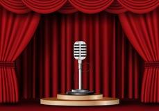 Microfoon op stadiumgordijn royalty-vrije illustratie