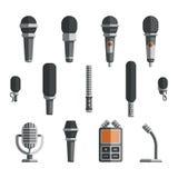 Microfoons en dictafoon vector vlakke pictogrammen Royalty-vrije Stock Foto's