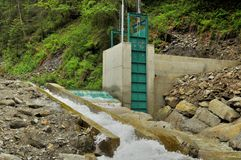 Microhydroelectric  dam in Carpathians Stock Photography