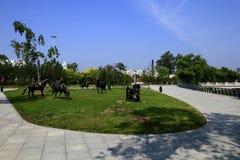 Microlandscape i trädgården Arkivbild