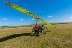 Microlight Aircraft Pilot Refueling  Stock Images