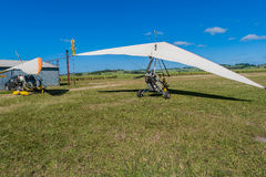 Microlight Aircrafts Field Flying Stock Photo