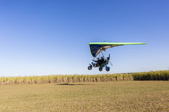 Microlight Flying Plane Landing Stock Image