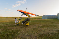 Microlight Pilot Aircraft Airstrip Royalty Free Stock Photo