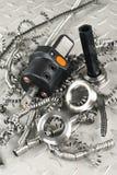 Micromètre à vis d'outil et de tour Images stock