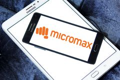 Micromax Informatics logo. Logo of Micromax Informatics on samsung mobile. Micromax is an Indian consumer electronics company and it later entered the mobile Stock Image
