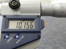 Micrometer. Detail of a micrometer with digital display Royalty Free Stock Photos