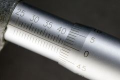 Micrometer, measuring scale close-up.  stock photos