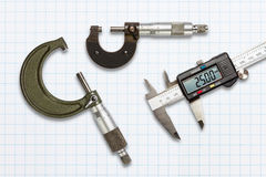 Micrometers and digital vernier calipers Royalty Free Stock Photography