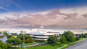 Micron Technology building front with clouds in sky. Boise, ID, USA - September 21, 2017: Micron Technology Boise . Micron is a leading company in semiconductor Royalty Free Stock Image