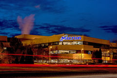 Micron Technology with streeking lights night Royalty Free Stock Photography