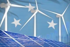 Micronesië zonne en digitaal de grafiekconcept van de windenergie - groene natuurlijke energie industriële illustratie 3D Illustr vector illustratie
