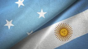 Micronesia and Argentina two flags textile cloth, fabric texture. Micronesia and Argentina flags together textile cloth, fabric texture vector illustration