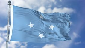 Micronesia Federated States Flag in a Blue Sky Stock Photography
